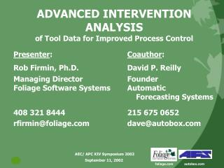 ADVANCED INTERVENTION ANALYSIS of Tool Data for Improved Process Control