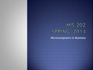 MIS 202 Spring  2014