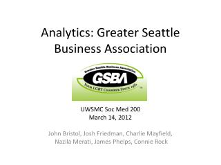 Analytics: Greater Seattle Business Association