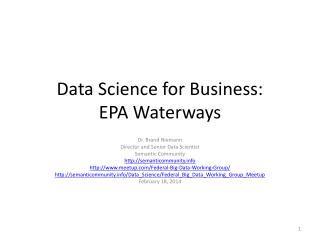 Data Science for Business: EPA Waterways