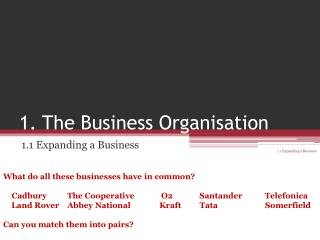1. The Business Organisation