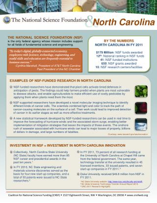 BY THE NUMBERS NORTH CAROLINA IN FY 2011 $179  Million : NSF funds awarded 12 th : National ranking in NSF funds 41 :