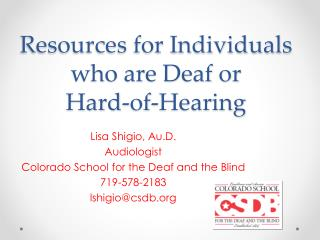 Resources for Individuals who are Deaf or Hard-of-Hearing