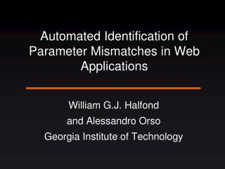 Automated Identification of Parameter Mismatches in Web Applications