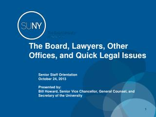The Board, Lawyers, Other Offices, and Quick Legal Issues
