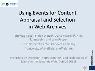 Using Events for Content Appraisal and  Selection  in Web Archives