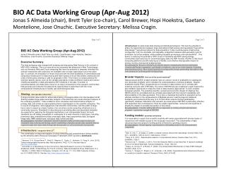 BIO AC Data Working Group (Apr-Aug 2012)
