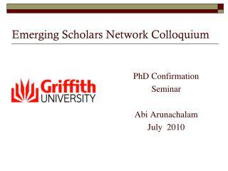 Emerging Scholars Network Colloquium