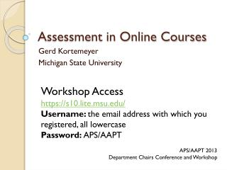 Assessment in Online Courses
