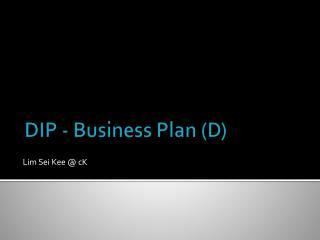 DIP - Business Plan (D)