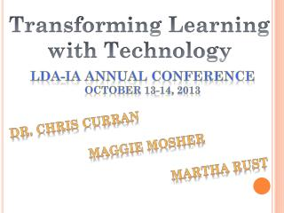 LDA-IA Annual Conference October 13-14, 2013