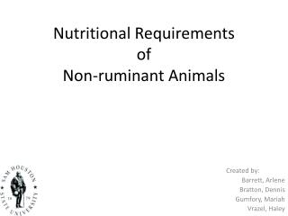 Nutritional Requirements  of  Non-ruminant Animals