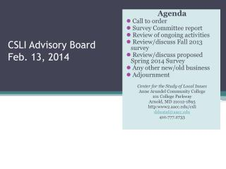 CSLI Advisory Board Feb. 13, 2014