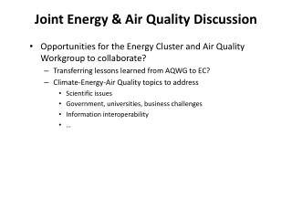 Joint Energy & Air Quality Discussion