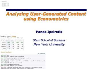 Analyzing User-Generated Content using Econometrics