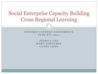 Social Enterprise Capacity Building Cross Regional Learning