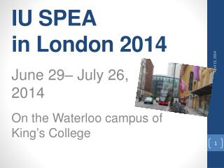 IU SPEA in London 2014