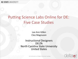 Putting Science Labs Online for  DE:  Five  Case Studies