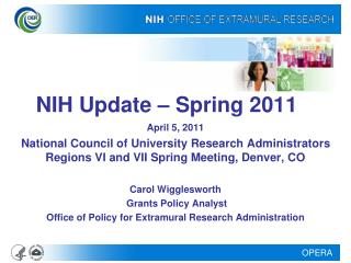 NIH Update – Spring 2011