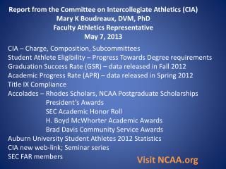 Report from the Committee on Intercollegiate Athletics (CIA) Mary K Boudreaux, DVM, PhD Faculty Athletics Representativ