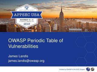 OWASP Periodic Table of Vulnerabilities