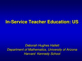 In-Service Teacher Education: US