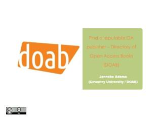 Find a reputable OA publisher � Directory of Open Access Books (DOAB)