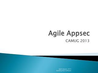 Agile  Appsec