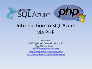 Introduction to SQL Azure  via PHP
