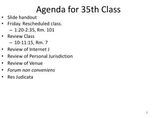 Agenda for  35th  Class