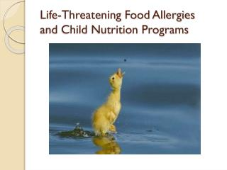 Life-Threatening Food Allergies  and Child Nutrition Programs