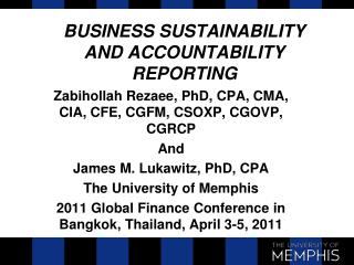 BUSINESS SUSTAINABILITY AND ACCOUNTABILITY REPORTING