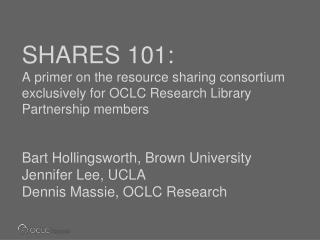 SHARES 101:  Today's agenda