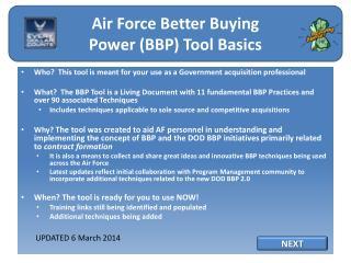 AF BBP Tool Basics