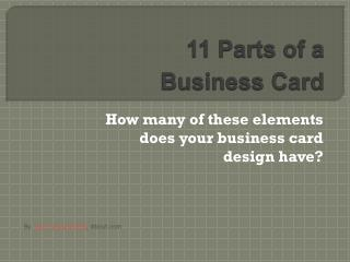 11 Parts of a BusinessCard