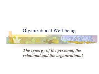 Organizational Well-being