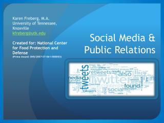 Social Media &  Public Relations