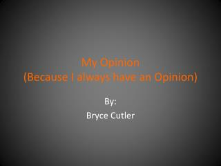 My Opinion  (Because I always have an Opinion)