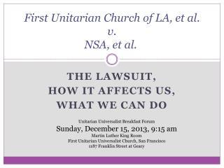 First UnitarianChurchof LA, et al.  v.   NSA, et al.