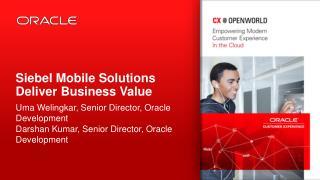 Siebel Mobile Solutions Deliver Business Value