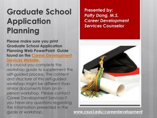 Graduate School Application Planning