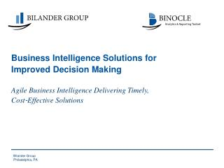 Business Intelligence  Solutions for Improved Decision Making