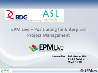 EPM Live – Positioning for Enterprise Project Management