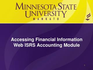 Accessing Financial Information Web ISRS Accounting Module