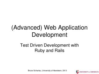 (Advanced) Web Application Development