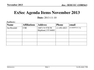 ExSec  Agenda Items November 2013