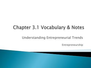 Chapter 3.1 Vocabulary & Notes