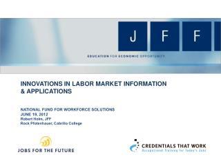 Innovations in Labor Market Information &  ApplicatioNS