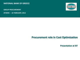 Procurement role in Cost Optimization Presentation at IST