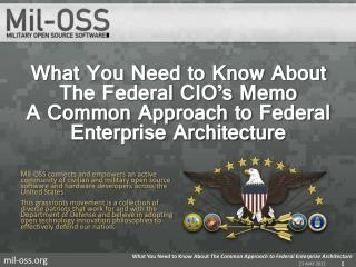 What You Need to Know About  The Federal CIO's Memo A Common Approach to Federal Enterprise Architecture